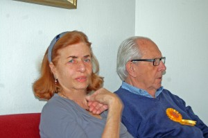 Herman with his 89 rosette. My sister Karolien soon to be 80