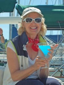 Sheila, having her eye-watering drink