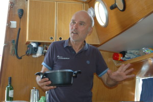 Peter Hoefnagels, the owner and skipper in the galley