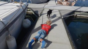 """Erling playing with the neighbor dog, In background """"Fleetwood"""""""